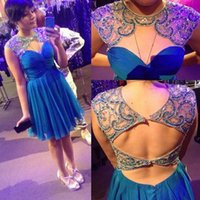Wholesale Short Chiffon Beaded Cocktail Dress - Vestidos De Festa Short Prom Party Dresses With Beaded Sexy Open Back Blue Chiffon Homecoming Cocktail Dress Gowns 2016 Cheap