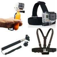 Wholesale Handheld Tripod Mount - Monopod Tripod Mount Adapter + Float Bobber Handheld Stick + Chest Belt + Head Strap For all Hero 4 3+ 3 2 SJ4000 Accessories