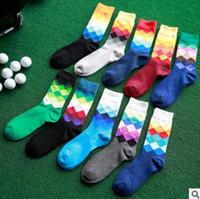 Wholesale Blue Diamond Pair - 10 pairs Happy Socks Men's Rainbow Faded Diamond Sock Cotton Socks Men's Colorful Diamond Plaid Long Socks For Male Sport Middle Sock 0180