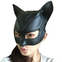 Wholesale Black Women Latex Mask - 2015 Halloween Women Eyeshade Game Fetish Goggles Party Catwoman Latex Mask scary halloween props silicone female mask