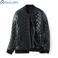 Wholesale Thick Winter Quilts - Wholesale- Grandwish Winter Warm Thick Leather Jacket Men Stand Collar Padded PU Leather Jacket for Men Men's Jacket Quilt Jacket,DA307