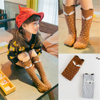meias de algodão de meninas venda por atacado-Crianças roupas de bebê menina leggings meias meias de algodão roupas de desenhos animados meias bonito presente de Natal pouco raposa orelha estéreo Algodão Outono inverno
