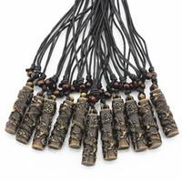 Wholesale Dragon Totem - Wholesale 12pcs COOL Simulation Bone Carving Totem Dragon Pendant Wood Beads Amulet Pendant Necklace Lucky Gift MN112