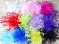 devekuşu tüyü bebeği toptan satış-100 adet mix renk için 4 '' moda kıvırcık devekuşu puf tüyü bebek tüy saç klipler bandı