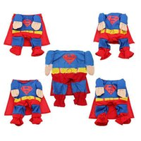 Wholesale Wholesale Cool Coats Dogs - 2016 Cool Pet Dog Superman Jumpsuit Suit Set Puppy One-piece Apparel Clothes Costumes For Free Shipping