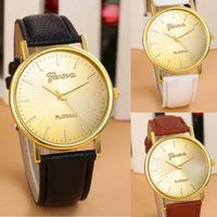 Wholesale Geneva Hours - Geneva Brand New Style Casual Quartz Women Dress Watch High Quality Gold Plated Leather Strap Wristwatch Relogio Women Hours Hot