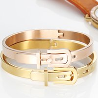 Wholesale Trendy Belt Bracelets For Women - titanium bangles bracelets bangles for women Platinum 18K Gold Plated Round Trendy Belt Bracelets Bangles steel bangle
