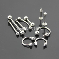 Wholesale Stud Tongue Rings - Wholesale 10pcs 316L Stainless Steel Ear Stud Navel Nipple Nose Lip Tongue Rings Bar Barbell Body Piercing Jewelry ME92