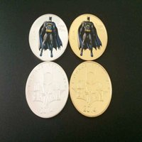 Wholesale Bat Man Movies - 2 pcs lot, Hollywood movie hero bat man coins set silver gold plated batman American souvenir coin. free shipping