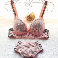 Wholesale sexy bra panty sets padded - Drop shipping Japanese embroidery lace pattern floral women underwear dot deep-v push up young girl sexy pad bra and panty set
