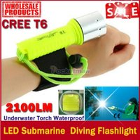 Wholesale Underwater Torch - 2017 New Hot Professional LED Torch 2100LM CREE T6 Underwater Diving Flashlight Torch Waterproof Lamp free shipping