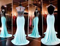 Wholesale Emerald Green Ribbon - Emerald Green Mermaid Lace Prom Dresses For Womens 2016 High Neck vestidos de festa Appliques Long Sexy Back Party Dresses Evening Wear
