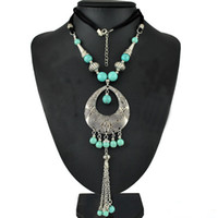 Wholesale Gypsy Pendant - Gypsy Fashion Women Jewelry Bohemian Vintage Silver Green Turquoise Beaded Long Tassel Necklaces & Pendants