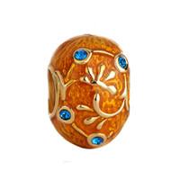 perlas de huevo faberge al por mayor-Pulsera de la joyería de las mujeres de la moda Faberge huevo esmaltado flor de la hoja de cristal cuentas europeas del espaciador de gran agujero encantos para las pulseras con cuentas