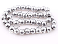 Wholesale Silver Hematite Loose Beads - Wholesale-Wholesale 100pcs lot 8mm White Hematite Round Beads Silver Color Hematite Loose Beads Fit Shamballa Bracelet Necklace