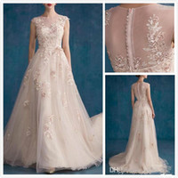 Wholesale Dress Wedding Saab - 2016 New Style Tulle Wedding Dresses Jewel Covered Button Sweep Train A Line Bridal Gowns With Applique Crystals Beads Pearls Elie Saab