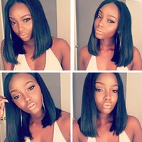 Wholesale Yaki Swiss Lace Front Wigs - Yaki Straight Bob Wigs With Baby Hair Peruvian Virgin Hair Glueless Full Lace Human Hair Wigs For Black Women