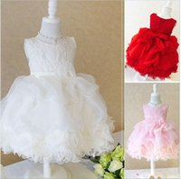 Wholesale organza rose flower wedding dress resale online - Princess Flower Girl Dresses For Wedding Patry Brand Rose Lace Tutus Little Baby Girls Dress White Children s Clothing
