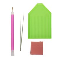 Wholesale Diy Pen Kits - Tool kit 5D Diamond Painting Cross Stitch Tool Set Diamond Mosaic Diamond Embroidery DIY Tweezers pen glue plastic Tray Set
