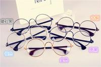 ingrosso cerchio cerchio chiaro-2015 nuova moda signore del marchio designer retrò occhiali telaio della sottile gamba cerchio scatola luce rotonda specchio piatto spedizione gratuita