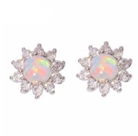 Wholesale Luxury Opal Jewelry - Elegant Women's Fashion Jewelry Earrings Fire Opal Diamond Luxury Wedding 925 Silver Bride Statement Earrings Gifts