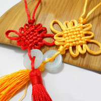 Wholesale Chinese Knot Jade - Red Yellow Lucky Cute Chinese Knots Pretty Jade Decor DIY Plait Handicraft Hanging Accessories Fashion Interior Decorations 100pcs lot SK397