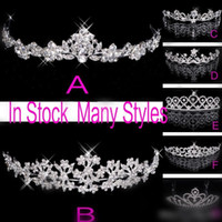 Wholesale Princess Party Tiaras - In Stock 2015 Free Shipping Rhinestone Crystal Wedding Party Prom Homecoming Crowns Band Princess Bridal Tiaras Hair Accessories Fashion
