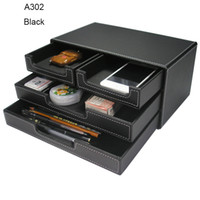 Wholesale Wooden File - Wholesale-Kingfom 3 Layers 4 Drawers File Cabinet Document Tray Stationery Organizer With Wooden Structure PU leather A302 Black