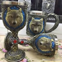 Wholesale unique bar glasses resale online - 3D Vintage Wolf Head Mug Wine Glass Stainless Steel Resin Goblet Retro Design Unique Coffee Cups For Bar Party Drinking xc CZ