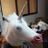 Costume Prop Unicorn Head Cos gioca Latex Rubber Face Mask e zoccoli Guanti Animal Adult Silicone Party Maschere per Halloween