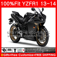 Wholesale yamaha r1 white green for sale - Group buy Injection Body For YAMAHA YZF YZF R1 YZFR1 Factory blk NO46 YZF R YZF YZF1000 YZF R1 Fairing kit Fit