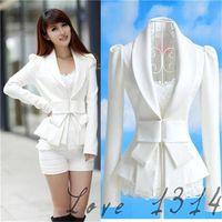 Wholesale Cheap Women Coat Suits - Cheap White Womens Blazers Fashion Bodycon Autumn OL Suits V Neckline Long Sleeves Design Cotton Blends Coat White Autumn Hot Sale 7327