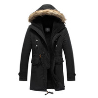 Wholesale Green Overcoat For Men - Winter Warm Coat For Men 2015 New Arrival Thick Retro Vintage Hooded Casual Style Coats Outwear M-3XL Long Overcoat