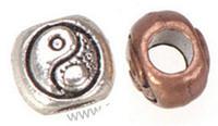 Wholesale Wholesale Metal Beads China - Wholesales Beads DIY Pandora Charms Bracelets Large Hole Antique Silver Round China Tai Ji Design Metal Jewelry Components 9*9*8mm 100pcs
