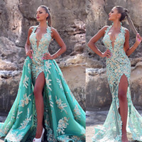 Wholesale Simple Elegant Homecoming Dresses - Elegant Robe De Soiree Floor Length Green Slit Prom Gowns Women's Sleeveless V-Neck Sheath Flower Satin Long Sexy Evening Dress