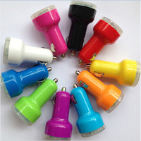 Mini Micro Auto Universal Dual 2 portas USB Car Charger para iPad iPhone 5 5S Mini Galaxy S3 S4 Note2 celular MP3 Telefone Grátis