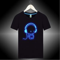 Wholesale Glow Tshirt - Wholesale-Green blue Noctilucent headphones t shirt men Cute tshirt high quality cotton summer night glow t-shirts Fluorescent top XM666