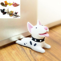 Wholesale Cute Door Stoppers - Cute Cartoon Dog Door Stopper Holder Lock Bull Terrier PVC Safety Guard for baby Home Decoration Dog Anime Figures Toys for Children