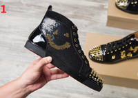 Wholesale Watermelon Rhinestone - Brand Genuine Leather with rhinestone Loubuten Red Bottom Shoes for Men Unisex Shoes Top Designer Luxury Brand Top Quality Men Shoes 2018