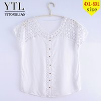 Yitonglian Women Summer Fashion Cap Sleeve Plus Size Camicetta bianca Hollow False Button Crochet Pullover Maglietta allentata Top Tee XD07