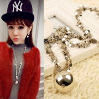 Wholesale Long Fashionable Necklace - Free Shipping New Silver Fashionable Bead Necklace Long Sweater Chain Sequins Necklace for Women Best Gift