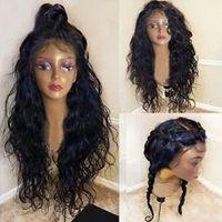 peluca de cola de caballo de pelo negro al por mayor-Gorro de pelucas frontales de encaje 360 mojado y ondulado Peluca de encaje completo pre desplumado 360 peluca de cabello humano de 130% de densidad Peluca de cabello humano para mujeres negras
