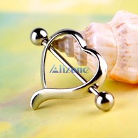 Wholesale Love Nipple Ring - 2pcs Jewelry Surgical Steel Love Heart Nipple Shields Bar Navel Ring Body Piercing #48630