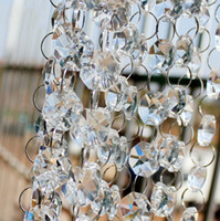 Wholesale Crystal Strands For Chandeliers - 30M 99FT roll14mm acrylic Octagonal beaded clear crystal garland strands for wedding decoration chandelier Free Shipping