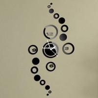 saat numaraları toptan satış-19 daire duvar saati modern tasarım lüks ayna duvar saati, 3d kristal ayna duvar saatleri duvar saatleri 4 sayı toplamı.