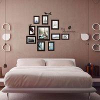 marcos de fotos al por mayor-10x Foto Marco de fotos Conjunto Mural de pared Negro Marcos de boda Sticker Decal Decor Home Gift extraíble, dandys