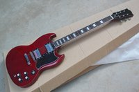 marcas de guitarra china al por mayor-A estrenar de calidad superior Custom Shop corte doble SG Mahogany Wine Red 2 pastillas Chrome Hardware Guitarra eléctrica China Guitarra envío gratuito