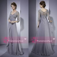 Wholesale Empire Waist Mother Bride - 3 4 Sleeves Lace Chiffon Mothers Dresses 2015 mother of the bride dresses Vneck Tired Empire Waist Sheer Formal Bridal Party PromEveningM001