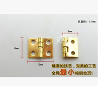 Wholesale Hinges Cabinets - 20Pcs Mini Cabinet Drawer Butt Hinge brass small hinge 4 small hole 8*10 copper hinge With screws A3