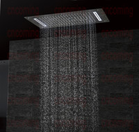 cachoeira de chuva liderada venda por atacado-Luxo banheiro LED cabeça de chuveiro acessórios de teto SUS304 700x380mm funções chuva cachoeira névoa bolha chuveiro df5422